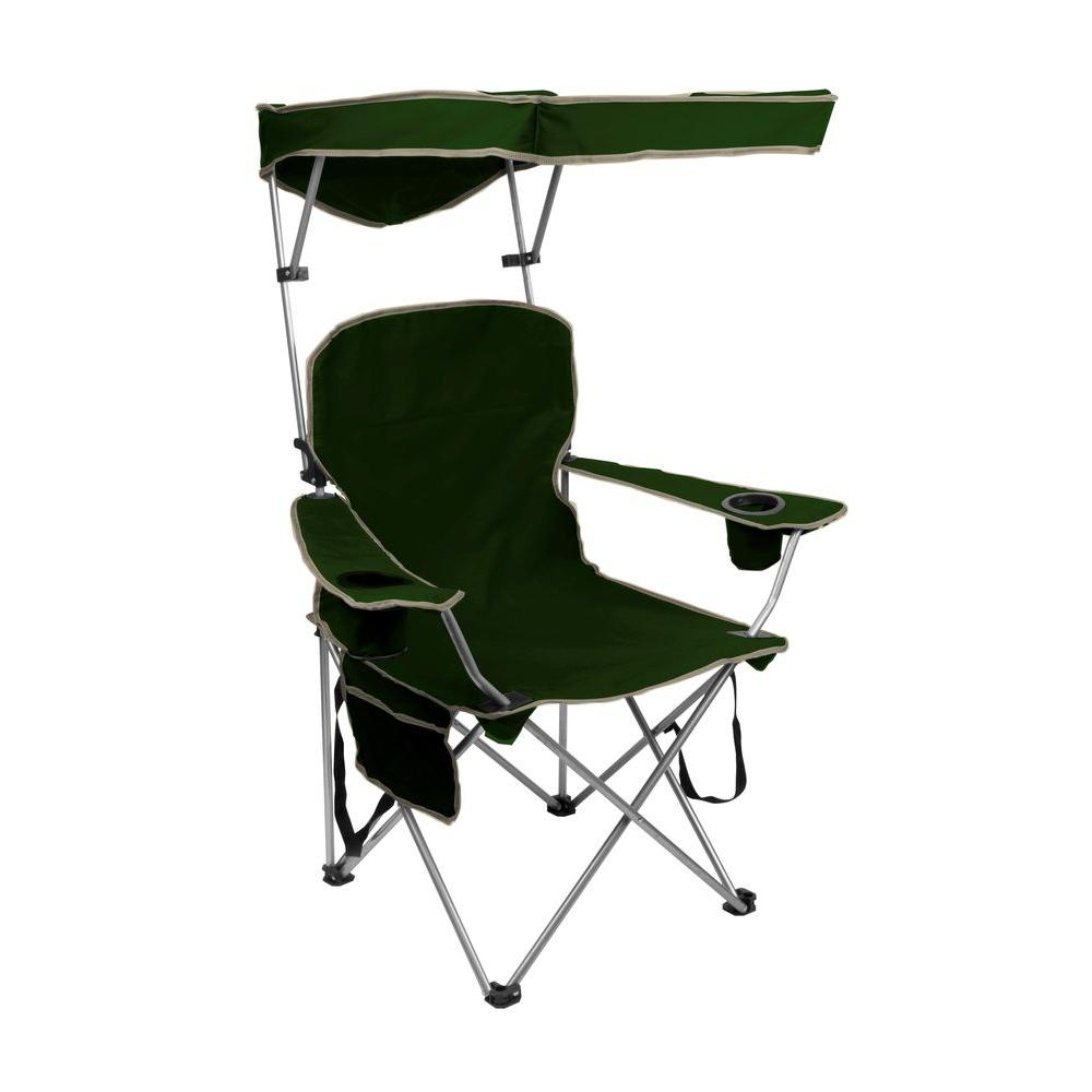 chair with shade canopy cardboard table and chairs quik forest green folding patio sun 150255
