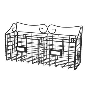 AdirHome 17 in. x 8.9 in. Wire Mail Double Slot Wall