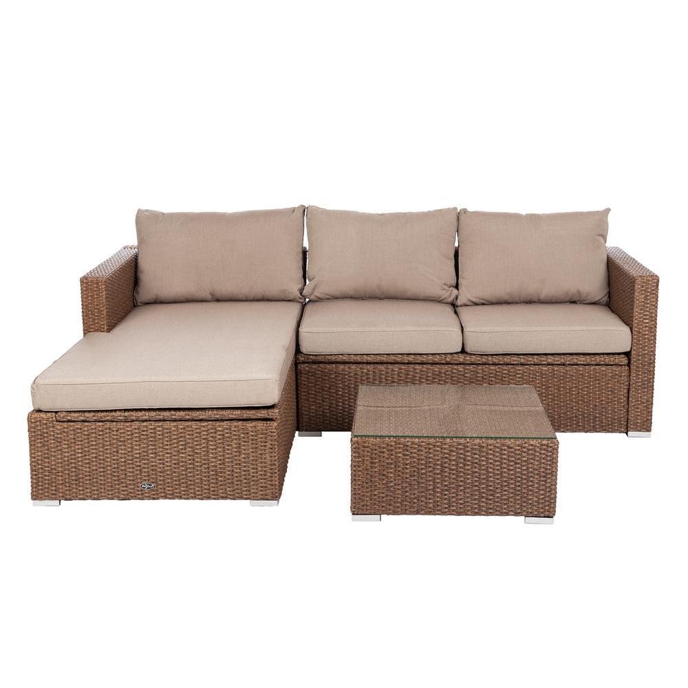 cushion sofa set best mattress for bed patio sense tristano 3 piece wicker outdoor with taupe cushions