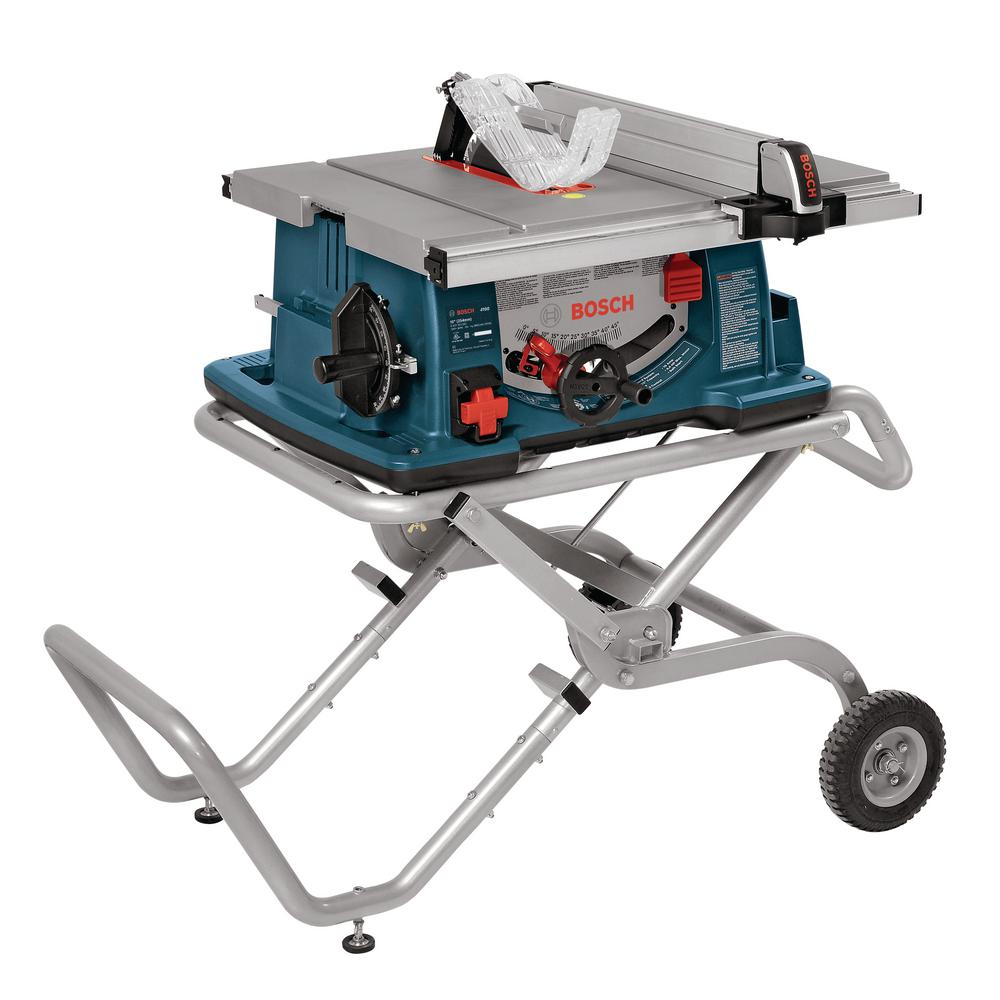 medium resolution of corded portable jobsite table saw with gravity rise wheeled stand