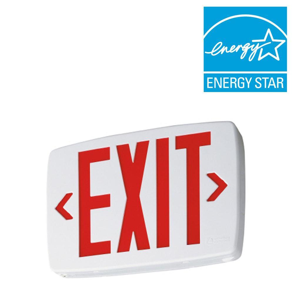 hight resolution of lithonia lighting 2 light plastic led white exit sign emergency rh homedepot com crante lithonia led
