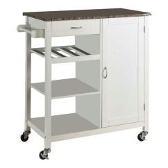 Kitchen Serving Cart Carpet Sets Kings Brand Furniture White Wood With Marble Laminate Storage
