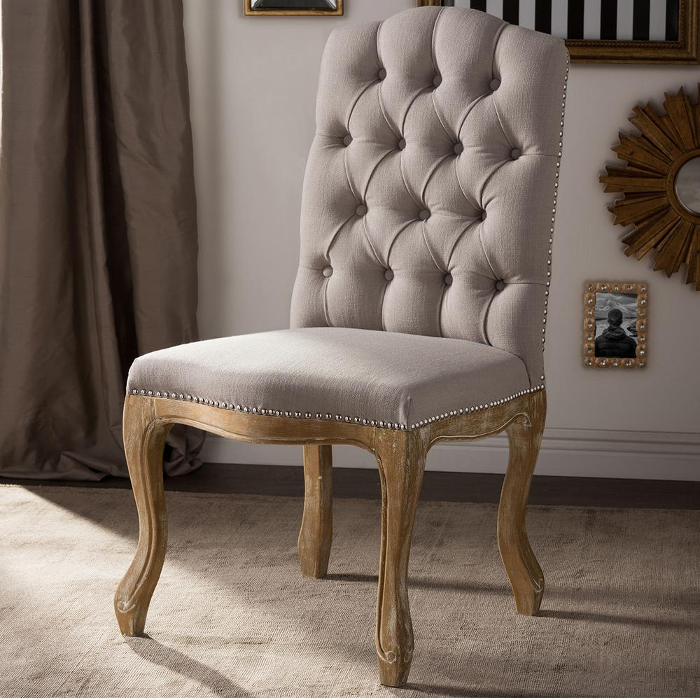 dining chairs fabric wicker chair cushions baxton studio hudson beige upholstered 28862