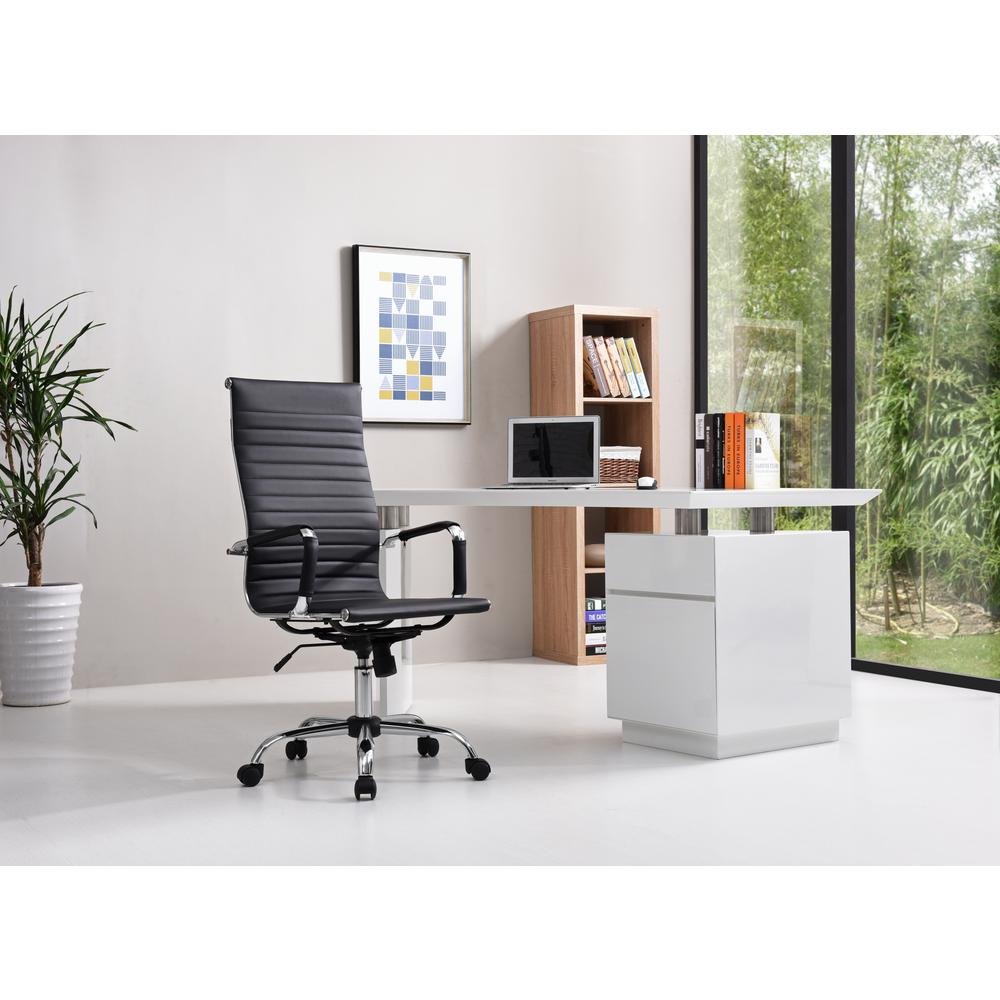 pu leather office chair globo stand hodedah black high back executive hi 3007