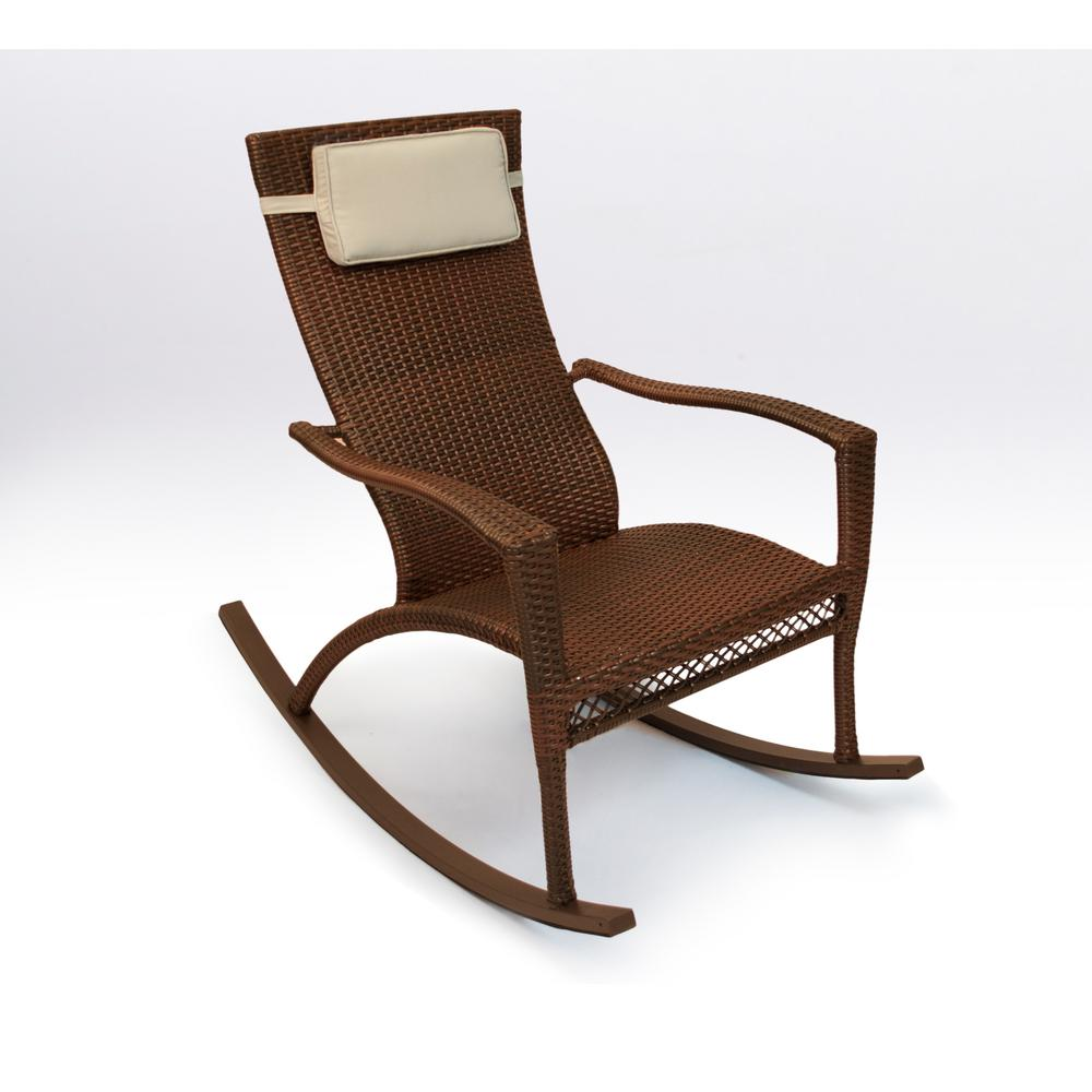Wicker Rocking Chair Tortuga Outdoor Maracay Java Wicker Oversized Outdoor Rocking Chair With Head Cushion