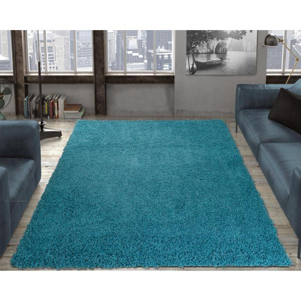 Ottomanson Contemporary Solid Blue 6 Ft. 7 In. X 9 3
