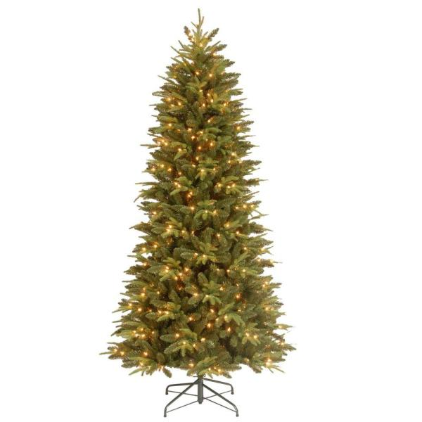 7.5 Ft. Feel-real Pomona Pine Slim Artificial Christmas Tree With 400 Clear Lights-pepn7-329e