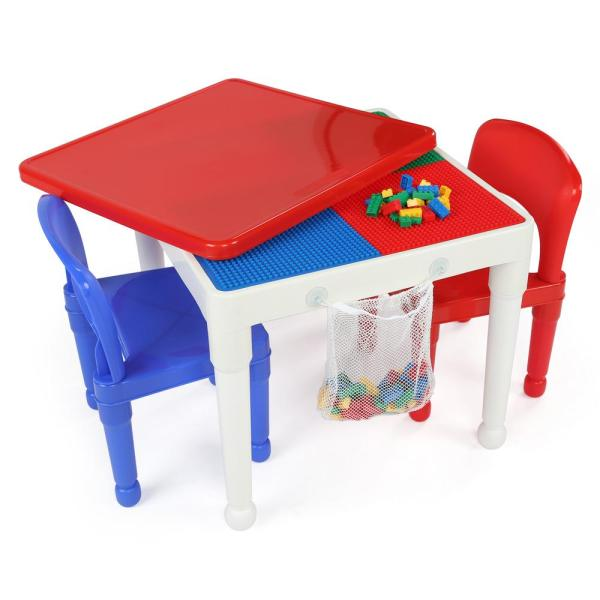 Tot Tutors Playtime 3-piece White Primary 2-in-1 Plastic Lego-compatible Kids Activity Table And