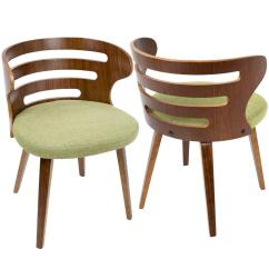 Accent Dining Chairs Pier 1 Directors Chair Lumisource Cosi Mid Century Modern Walnut And Green Fabric