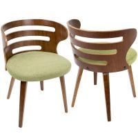 Lumisource Cosi Mid-Century Modern Walnut and Green Fabric ...