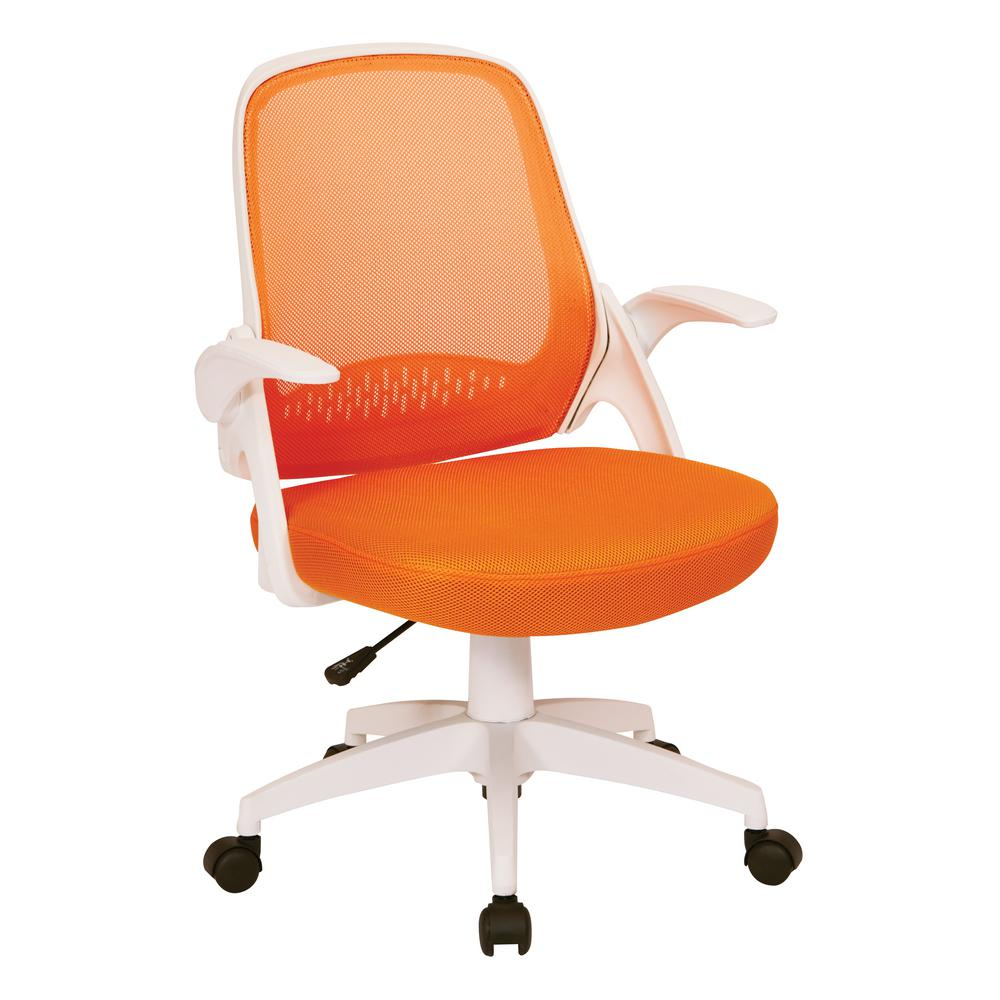Orange Office Chairs Jackson Orange Mesh And White Frame Office Chair With Flip Arms