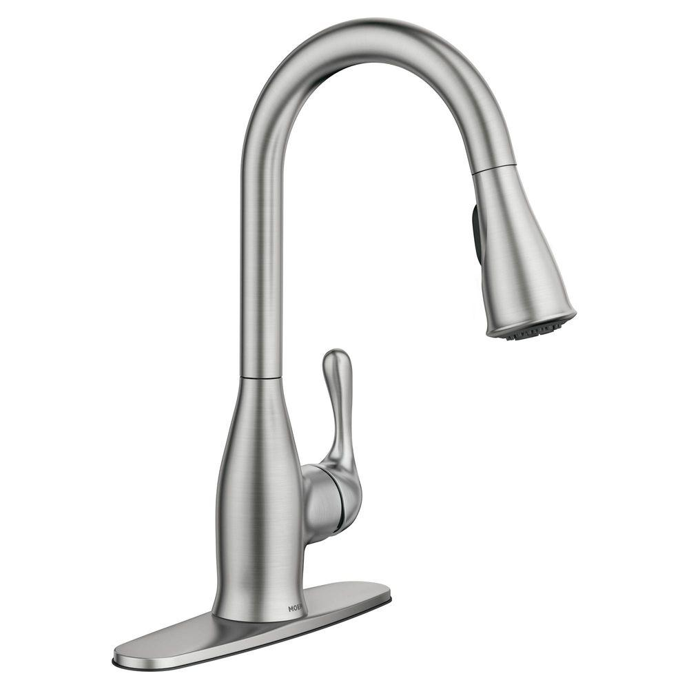 kitchen faucet moen sink faucets lowes kaden single handle pull down sprayer with reflex and power clean