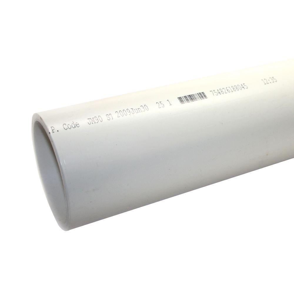 4 in. x 10 ft. PVC Sch. 40 DWV Plain End Pipe