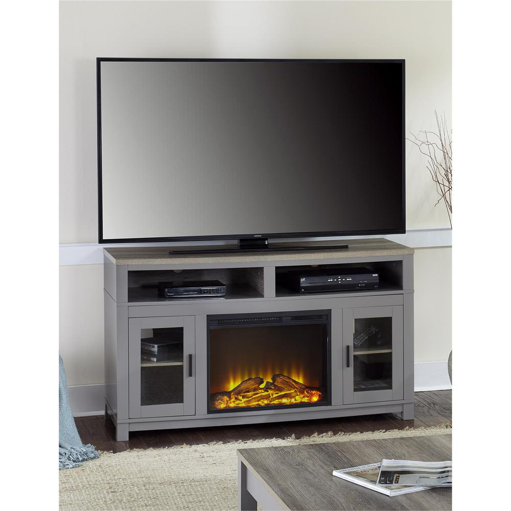 Gray Fireplace Tv Stand Reily Media Cabinet Grey Cerused