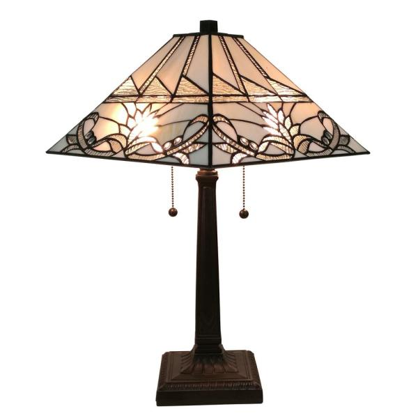 Tiffany Style 22 In. Tall White Mission Table Lamp Classic Geometric Pattern