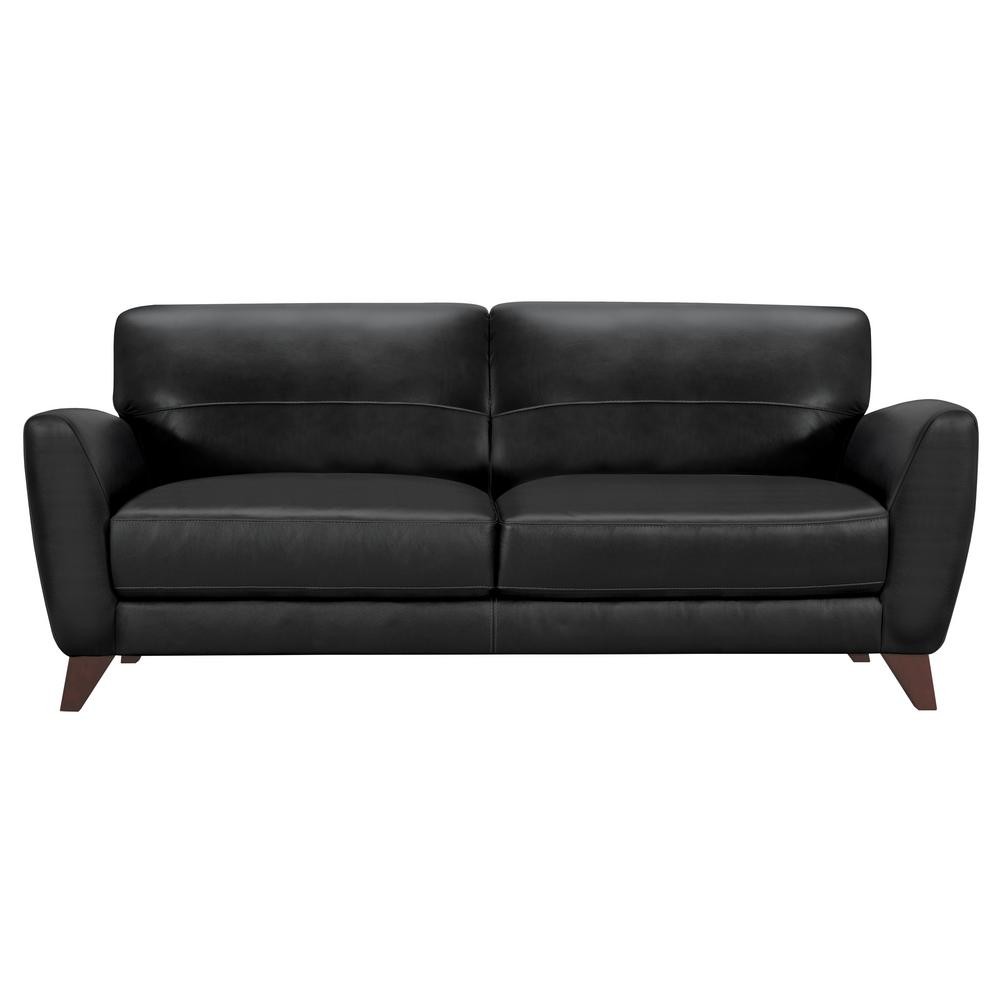 contemporary sofas and loveseats queen sleeper sofa mattress size armen living genuine black leather with brown wood legs