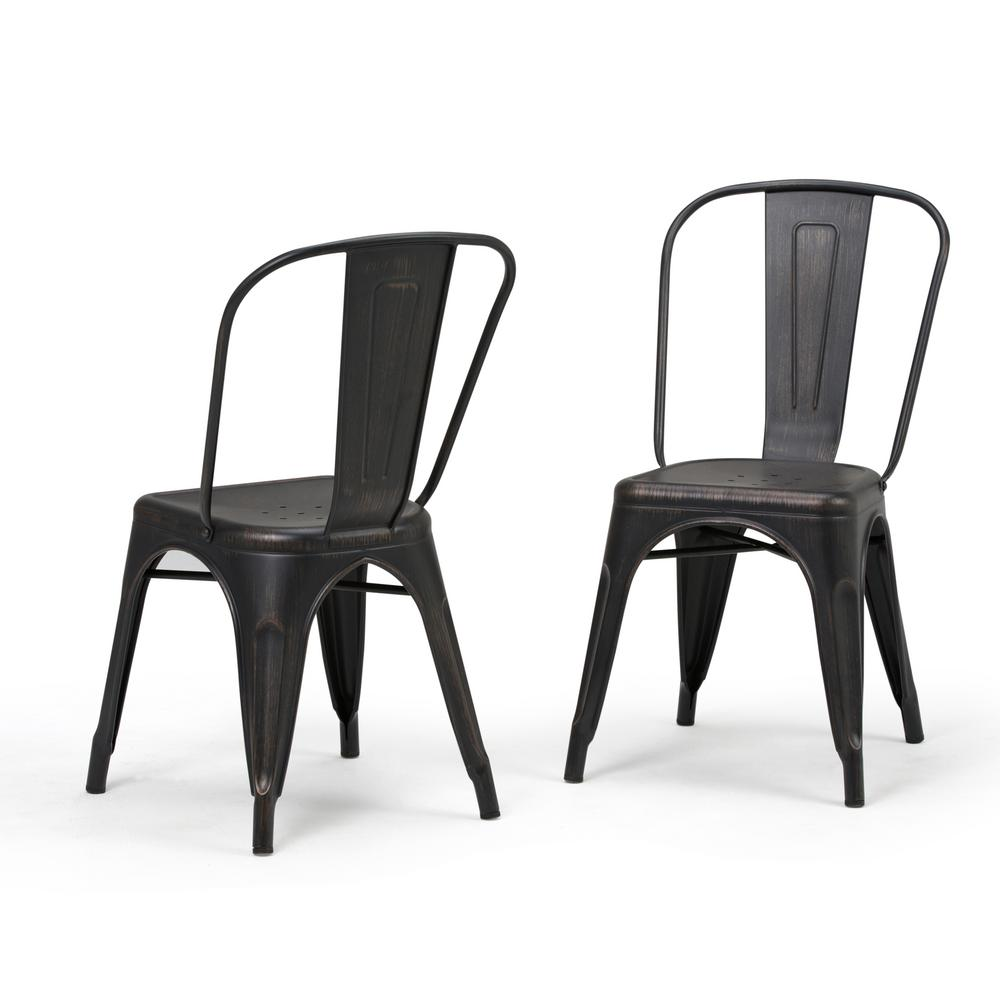 distressed black dining chairs chair cushions with ties ikea simpli home fletcher and copper metal side set of 2