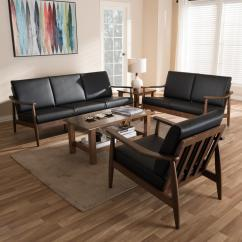 Walnut Furniture Living Room Best Coffee Table For Small Baxton Studio Venza 3 Piece Black And Brown Set 7552 7554 Hd The Home Depot