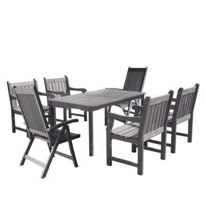 reclining patio chairs and table folding outdoor argos dining furniture the home depot renaissance 7 piece wood rectangular set