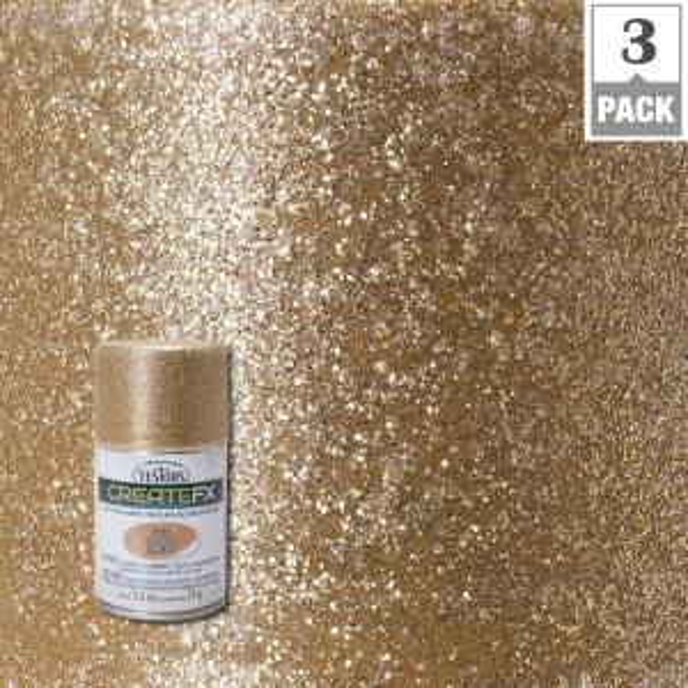 Testors CreateFX 25 oz Gold Glitter Spray Paint 3Pack