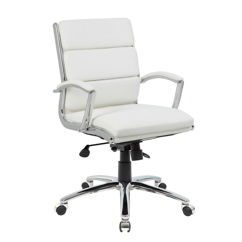 durable office chairs black pedestal table and boss white mid back executive chair b9476 wt the home depot