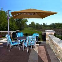 Hampton Bay 11 ft. LED Offset Patio Umbrella in Sunbrella ...