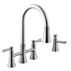 Stainless Steel Kitchen Faucet With Pull Down Spray Outdoor Prices Schon 925 Series 2 Handle Sprayer Bridge Soap Dispenser In