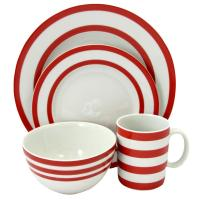 Just Dine Bistro Edge 16-Piece Red Dinnerware Set ...