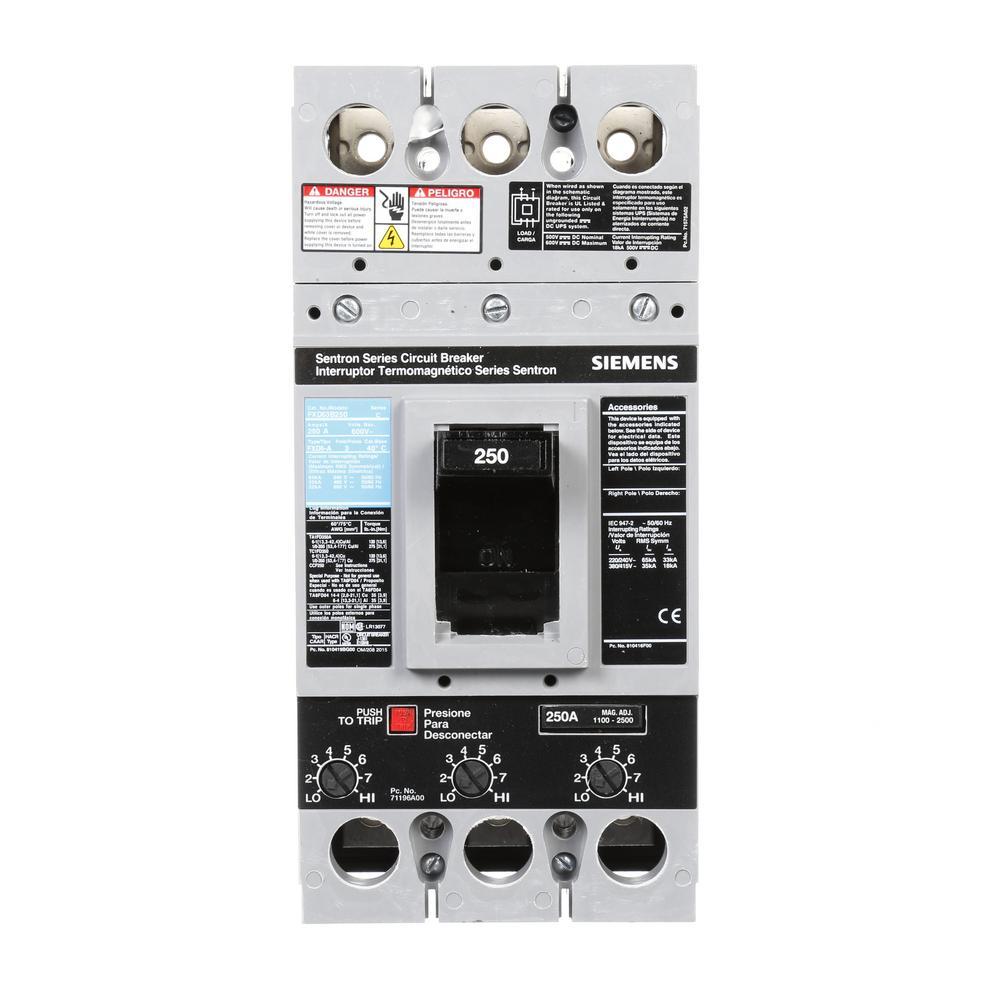 medium resolution of siemens 250 amp type fxd6 a triple pole circuit breaker