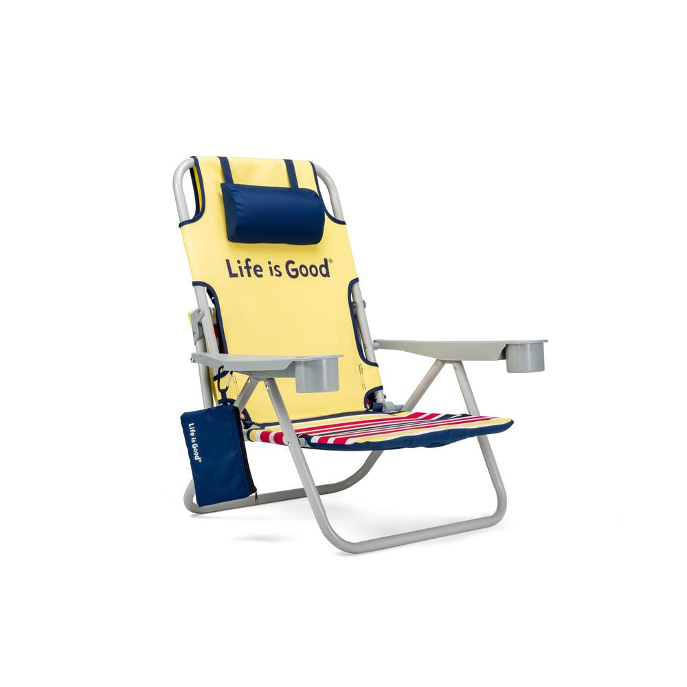 reclining beach chairs the best office chair life is good daisy yellow aluminum folding and