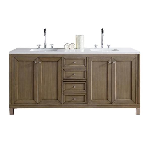 James Martin Vanities Chicago 72 In W Double Bath Vanity In Whitewashed Walnut With Quartz Vanity Top In Classic White With White Basin 305 V72 Www 3clw The Home Depot