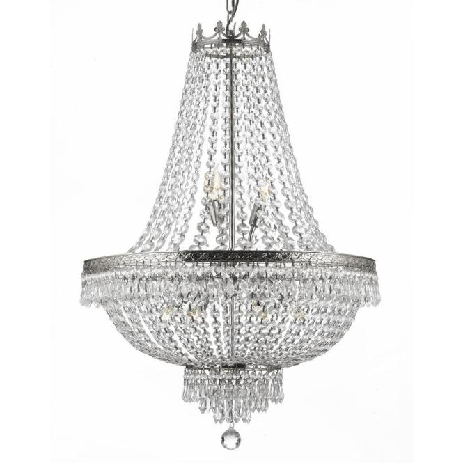 Empire 9 Light Crystal Silver Chandelier