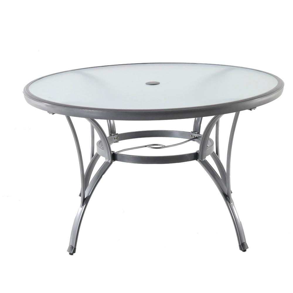Outdoor Dining Table Poolside Patio Garden Furniture Glass Round Tabletop Grey 848681056295  eBay
