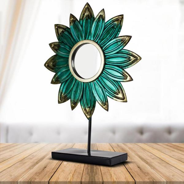 Crystal Art Turquoise Metal Flower Sculpture