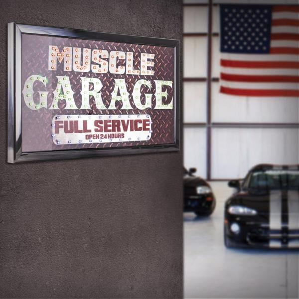 Crystal Art Muscle Garage Full Service Open 24 Hours Led Signs-79567 - Home Depot
