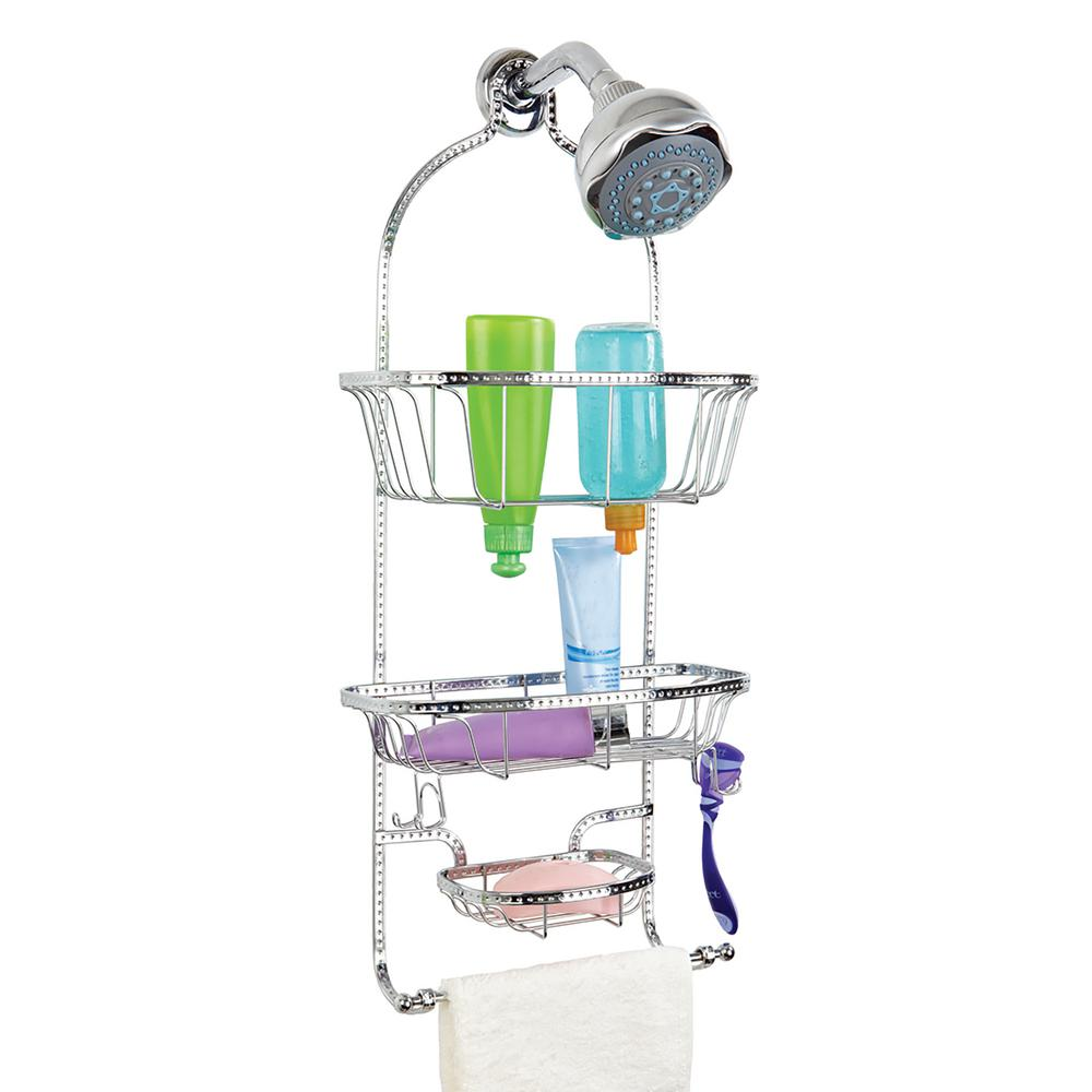 Bathroom Shower Caddy Bath Bliss Hammered Wire Shower Caddy In Glossy Chrome