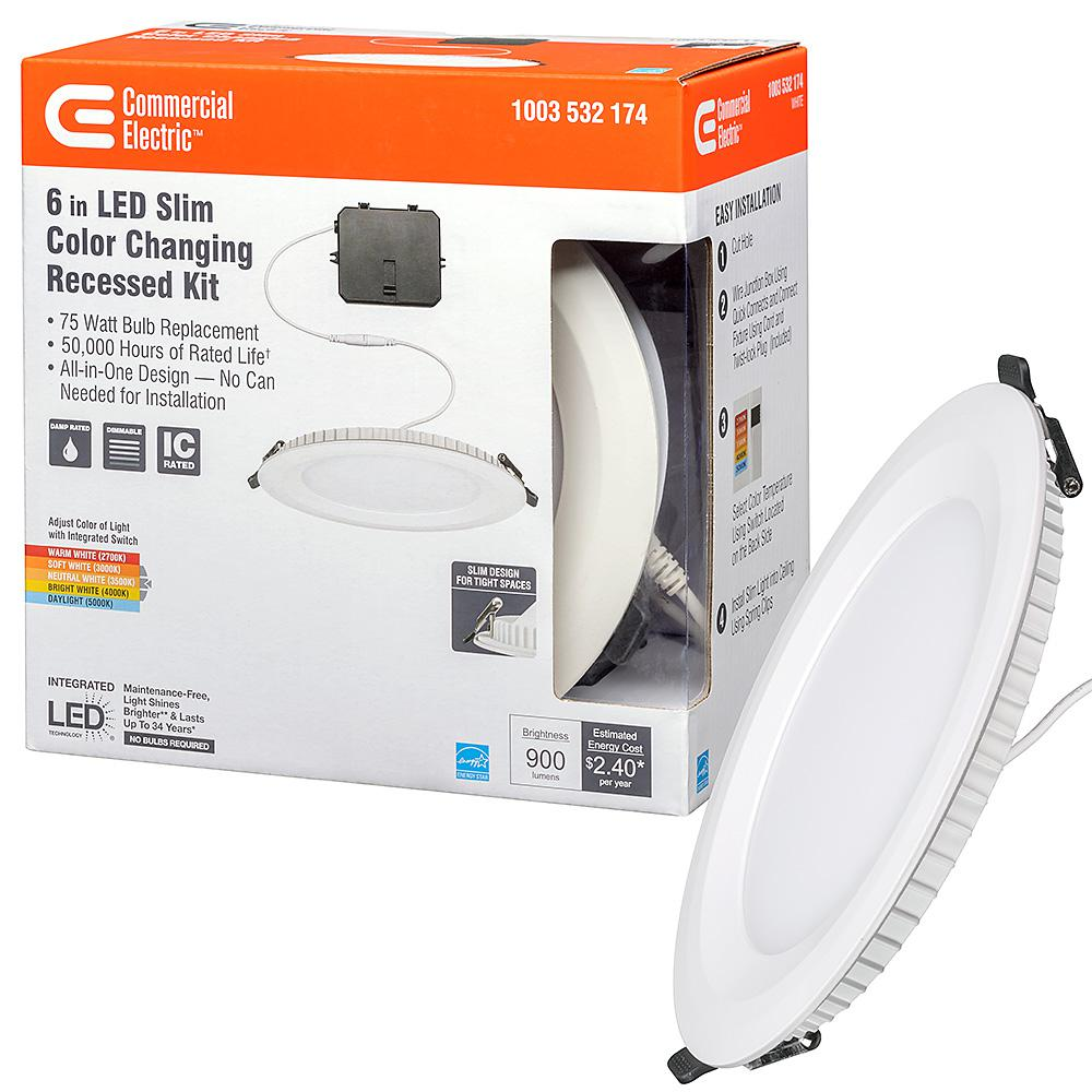 Commercial Electric Ultra Slim 6 in Color Temperature