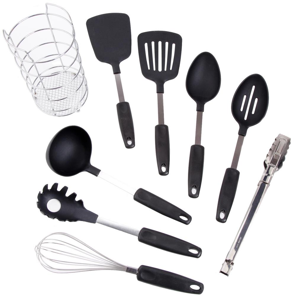 kitchen utensil sets design and layout ideas gibson chef s better basics 9 piece set with wire caddy