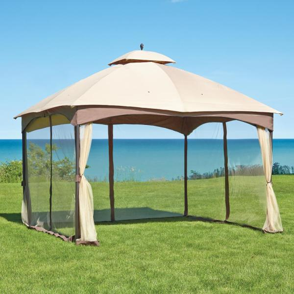 Hampton Bay Massillon 10 Ft. X 12 Double Roof Gazebo-l