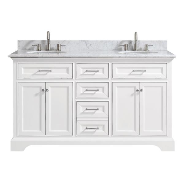Home Decorators Collection Windlowe 61 In W X 22 In D X 35 In H Bath Vanity In White With Carrera Marble Vanity Top In White With White Sink 15101 Vs61c Wt The Home Depot