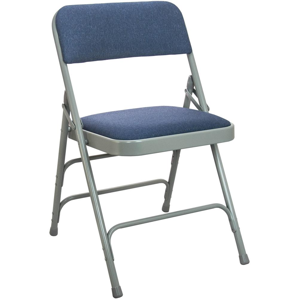 blue metal folding chairs kids plastic adirondack advantage 1 in navy fabric seat with grey padded chair