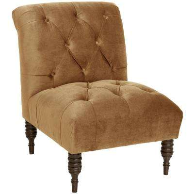 brown slipper chair living room chaise lounge chairs solid accent the home depot mystere moccasin tufted