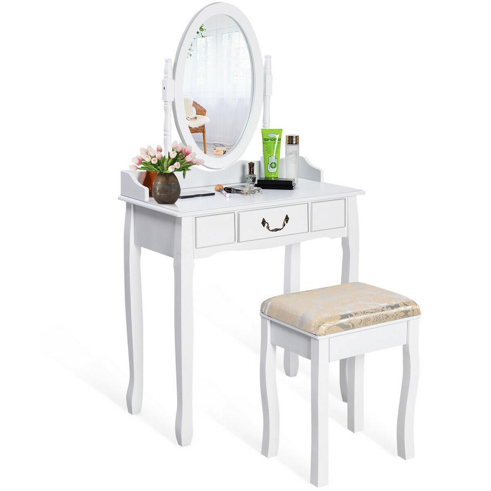 Costway White Vanity Table Jewelry Makeup Desk Bench Dresser With Cushioned Stool Drawer Hw50200 The Home Depot