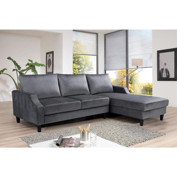 gray velvet 3 seater right facing sectional sofa with removable cushions