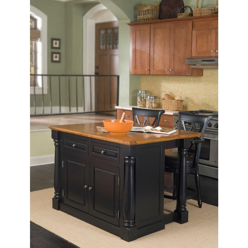 Home Styles Monarch Black Kitchen Island With Seating 5008 948 The