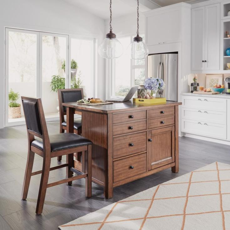 home styles tahoe aged maple kitchen island with granite top and bar