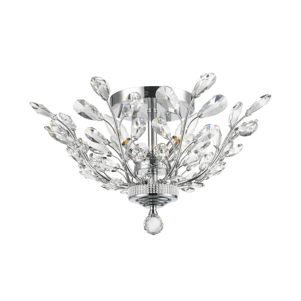 Worldwide Lighting Aspen 4-Light Chrome Crystal Ceiling