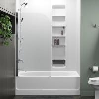STERLING Whiston 32 in. x 56.9375 in. Frameless Fixed Tub ...