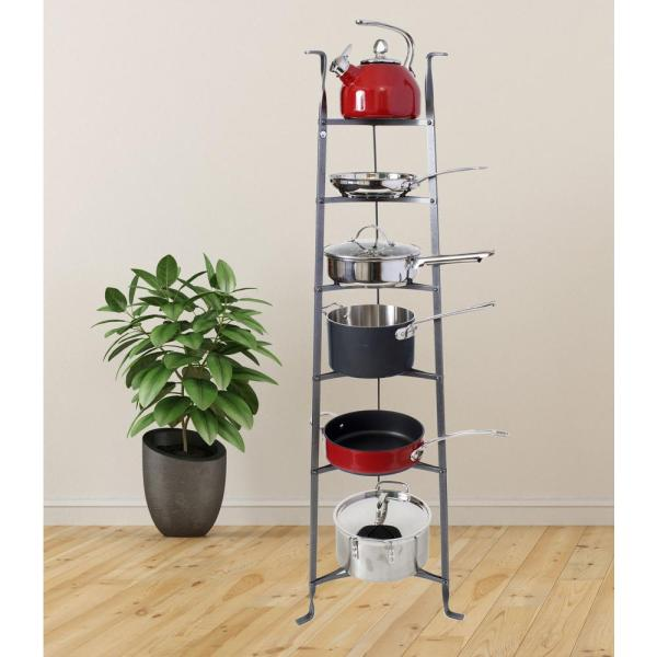 Cookware Stand Free Standing Pot Rack 6 Tier Measures 16.5 Inches Wide Assembled 606155000287