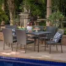 Noble House Macy Grey 7-piece Wicker Outdoor Dining Set